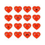 Śliczni kreskówki kawaii serca ustawiający z różnym emocja wektorem il Royalty Ilustracja