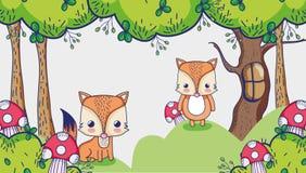 Śliczni lisy w lasowej doodles kreskówce ilustracja wektor