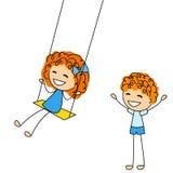 Śliczni małe dzieci z huśtawką royalty ilustracja