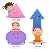 Śliczni mali kreskówka dzieciaki z podstawową kształt elipsy strzała ilustracji