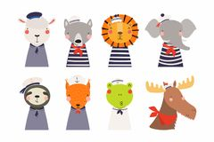 Śliczni mali zwierzę żeglarzi ustawiający royalty ilustracja