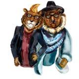 Śliczni nowożytni modnisiów lwy ilustracja wektor