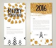 Śliczni nowy rok kartka z pozdrowieniami z Złocistymi confetti ilustracja wektor