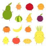 Śliczni owocowi charaktery wliczając avocado, morela, garnet, arbuz, bonkreta, śliwka, banan ilustracja wektor