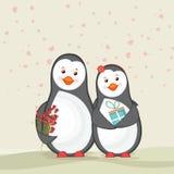 Śliczni pingwiny dla Szczęśliwego walentynka dnia świętowania Obraz Stock