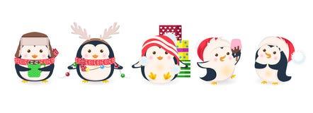 Śliczni pingwiny ustawiający Xmas kreskówki wektoru ilustracja ilustracja wektor