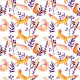 Śliczni pomarańczowi czerwoni lisy w zmroku - błękitnej marynarki wojennej lasowej akwareli bezszwowy wzór na białym tle Kreskówk ilustracji