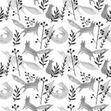 Śliczni popielaci lisy w zimy lasowej akwareli bezszwowym wzorze na białym tle Kreskówka lisów prosty bawić się, fryzuję royalty ilustracja