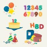 Śliczni przyjęcie urodzinowe elementy Kilka faszerują dla przyjęcia urodzinowego również zwrócić corel ilustracji wektora Obrazy Stock