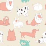 śliczni psy pets Bezszwowy deseniowy tło w konturu stylu Fotografia Stock