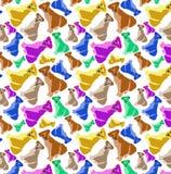śliczni psy pug kolorowych deseniowych planowanymi różnych możliwych wektora Obrazy Royalty Free