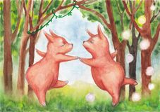 Śliczni puszyści mali zwierzęta tanczy w czarodziejskim lesie Zdjęcie Stock
