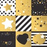 Śliczni różni wektorowi tła ustawiający wzoru ciemny złocisty kolor z gwiazdami, serca inkasowi Zdjęcie Stock