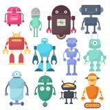 Śliczni roboty, cyborg nauki maszynowi wektorowi charaktery royalty ilustracja
