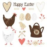 Śliczni rocznika Easter elementy ustawiający Fotografia Royalty Free