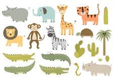 Śliczni safari zwierzęta inkasowi royalty ilustracja