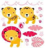 Śliczni safari zwierzęta ustawiający odizolowywającymi na bielu Obrazy Stock