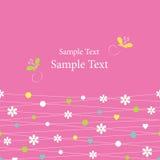 Śliczni serca kwitną kropki i motyla kartka z pozdrowieniami Zdjęcie Royalty Free