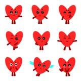 Śliczni serca z różnymi emocjami kreskówki serc biegunowy setu wektor royalty ilustracja