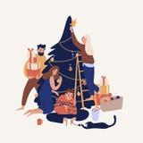 Śliczni uśmiechnięci ludzie dekoruje choinki z baubles i girlandami Szczęśliwa rodzina lub grupa przyjaciele przygotowywa dla ilustracja wektor