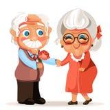 Śliczni, uroczy kreskówka seniory, dobierają się w miłości romantycznej ilustracji