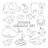 Śliczni wektorowi kreskówki doodle zwierzęta Urocza nakreślenie kolekcja Obrazy Royalty Free