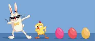 Śliczni Wielkanocni charaktery Dabbing Mieć zabawę ilustracji