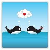 Śliczni wieloryby w miłości. Wektorowa ilustracja obraz royalty free