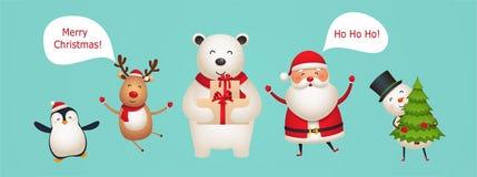 Śliczni zabawa nowego roku charaktery Święty Mikołaj, rogacz, niedźwiedź polarny, bałwan z choinką w rękach, pingwin royalty ilustracja