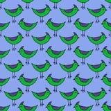 Śliczni zieleni ptaki ustawiający wektor bezszwowy wzoru Zdjęcie Royalty Free