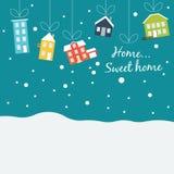 Śliczni zima domy, zakrywający z śniegiem, wiesza dalej ilustracja wektor