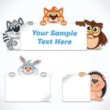 Śliczni zoo zwierzęta z sztandarami i etykietkami Zdjęcia Stock