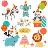 Śliczni zwierzę urodziny życzenia ilustracja wektor