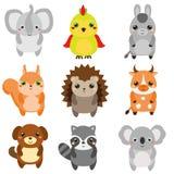 Śliczni zwierzęta Dzieci projektują, projektów elementy, wektor Kreskówki kawaii zwierzęta gospodarskie i przyroda ilustracja wektor