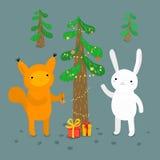 Śliczni zwierzęta 2007 pozdrowienia karty szczęśliwych nowego roku Zdjęcie Royalty Free