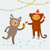 Śliczni zwierzęta 2007 pozdrowienia karty szczęśliwych nowego roku Fotografia Royalty Free