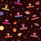 Śliczni zwierzęta w astronautycznym dzieciaka wzorze Zdjęcia Royalty Free