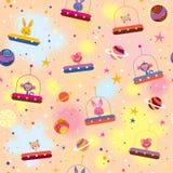 Śliczni zwierzęta w statków kosmicznych dzieciaków wzorze Zdjęcia Royalty Free