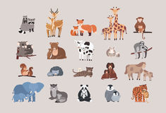 Śliczni zwierzęta z dziećmi ustawiającymi szop pracz, rogacz, lis, żyrafa, małpa, koala, niedźwiedź, krowa, królik, opieszałość,  royalty ilustracja