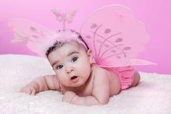 Śliczny, ładny, szczęśliwy, pyzaty i dziewczynko, z różowymi motylimi skrzydłami Zdjęcie Stock