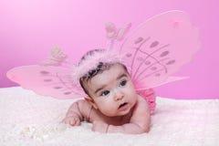 Śliczny, ładny, szczęśliwy, pyzaty i dziewczynko, z różowymi motylimi skrzydłami Obrazy Stock