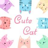 Śliczny ładny ustalony kot, kiciuni ilustracja royalty ilustracja