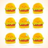 Śliczny śmieszny kreskówka hamburger z emocjami ustawiać Zdjęcia Royalty Free
