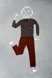 Śliczny śmieszny postać z kreskówki w przypadkowych ubraniach Zdjęcie Royalty Free