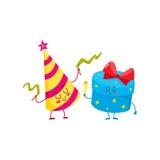 Śliczny, śmieszny, uśmiechnięty prezenta pudełko, i urodziny kapeluszu charaktery Zdjęcie Royalty Free