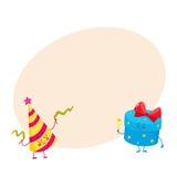 Śliczny, śmieszny, uśmiechnięty prezenta pudełko, i urodziny kapeluszu charaktery Obrazy Stock