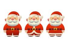 Śliczny Święty Mikołaj ustawiający kreskówka wakacyjni symbole w różnej odzieżowej wektorowej ilustracji ilustracji