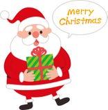 Śliczny Święty Mikołaj z prezenta i mowy balonem ilustracja wektor