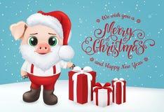 Śliczny świniowaty charakter Szczęśliwa Nowego Roku zaproszenia karta Wektorowa ilustracja EPS10 ilustracji