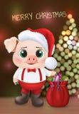 Śliczny świniowaty charakter Szczęśliwa Nowego Roku zaproszenia karta Wektorowa ilustracja EPS10 ilustracja wektor
